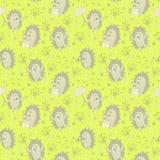 Άνευ ραφής σχέδιο με τους σκαντζόχοιρους και τα λουλούδια πικραλίδων Στοκ φωτογραφία με δικαίωμα ελεύθερης χρήσης
