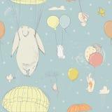 Άνευ ραφής σχέδιο με τους χαριτωμένους μικρούς λαγούς και τη πολική αρκούδα ελεύθερη απεικόνιση δικαιώματος