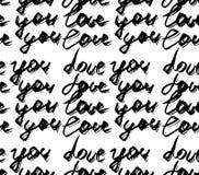 Άνευ ραφής σχέδιο με το αφηρημένο κείμενο μελανιού γραφής σύγχρονο Σ' αγαπώ σχέδιο Μαύρη απεικόνιση μελανιού Συρμένη χέρι βούρτσα Στοκ Εικόνες