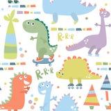 Άνευ ραφής σχέδιο με το δεινόσαυρο Υπόβαθρο μωρών για το κλωστοϋφαντουργικό προϊόν, τύλιγμα, ύφασμα, ταπετσαρία επίσης corel σύρε διανυσματική απεικόνιση