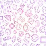 Άνευ ραφής σχέδιο με το διαμάντι πολύτιμοι λίθοι, και πέτρες σε πολλές παραλλαγές Στοκ εικόνες με δικαίωμα ελεύθερης χρήσης