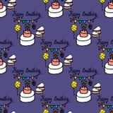 Άνευ ραφής σχέδιο με το κέικ, τη σημαία και το μπαλόνι γενεθλίων Στοκ Εικόνες