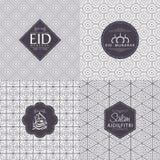 Άνευ ραφής σχέδιο με το κείμενο για τον εορτασμό Eid Μουμπάρακ Στοκ Φωτογραφία