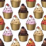 Άνευ ραφής σχέδιο με το κεράσι cupcakes Στοκ Φωτογραφία
