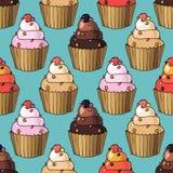 Άνευ ραφής σχέδιο με το κεράσι cupcakes Στοκ Φωτογραφίες