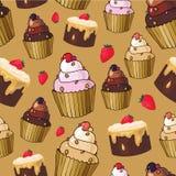 Άνευ ραφής σχέδιο με το κεράσι cupcakes Στοκ Εικόνα