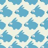 Άνευ ραφής σχέδιο με το μπλε κουνέλι στο γκρίζο υπόβαθρο Διανυσματική απεικόνιση