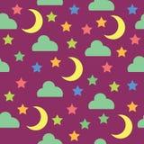 Άνευ ραφής σχέδιο με το νυχτερινό ουρανό, το φεγγάρι, τα αστέρια και τα σύννεφα Στοκ εικόνα με δικαίωμα ελεύθερης χρήσης