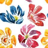 Άνευ ραφής σχέδιο με το λουλούδι σχεδίων watercolor Στοκ Φωτογραφίες