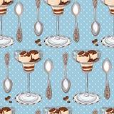 Άνευ ραφής σχέδιο με το παγωτό βανίλιας, τα κουταλάκια του γλυκού και τα φασόλια καφέ Διανυσματική απεικόνιση