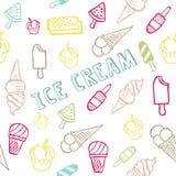 Άνευ ραφής σχέδιο με το παγωτό με το θερινό κείμενο στοκ φωτογραφίες