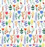 Άνευ ραφής σχέδιο με το πολύχρωμο watercolor λουλουδιών διανυσματική απεικόνιση