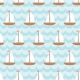 Άνευ ραφής σχέδιο με το πλέοντας σκάφος στη θάλασσα Διανυσματική απεικόνιση