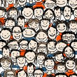 Άνευ ραφής σχέδιο με το πλήθος ανθρώπων για το σχέδιό σας Στοκ εικόνες με δικαίωμα ελεύθερης χρήσης