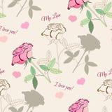 Άνευ ραφής σχέδιο με το ροζ rose2-1 Στοκ Εικόνες