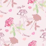 Άνευ ραφής σχέδιο με το ροζ rose2-2 Στοκ εικόνα με δικαίωμα ελεύθερης χρήσης