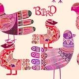 Άνευ ραφής σχέδιο με το Σκανδιναβικό περίκομψο πουλί ύφους boho διανυσματική απεικόνιση