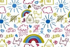 Άνευ ραφής σχέδιο με το σχεδιασμό παιδιών doodle Στοκ Εικόνα