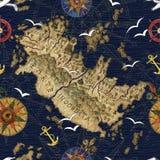 Άνευ ραφής σχέδιο με το χάρτη πειρατών Στοκ Εικόνα