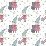 Άνευ ραφής σχέδιο με το χαριτωμένες στοιχειό και τη γάτα επίσης corel σύρετε το διάνυσμα απεικόνισης Στοκ φωτογραφίες με δικαίωμα ελεύθερης χρήσης