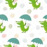 Άνευ ραφής σχέδιο με το χαριτωμένους κροκόδειλο και την ομπρέλα Διανυσματική τυπωμένη ύλη Στοκ Εικόνες