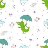 Άνευ ραφής σχέδιο με το χαριτωμένους κροκόδειλο και την ομπρέλα Διανυσματική τυπωμένη ύλη Στοκ Εικόνα