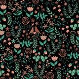 Άνευ ραφής σχέδιο με το χαριτωμένο ζεύγος πουλιών στο υπόβαθρο λουλουδιών doodle Στοκ Εικόνες