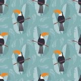 Άνευ ραφής σχέδιο με το χαριτωμένο παπαγάλο ζουγκλών toucan στο μπλε απεικόνιση αποθεμάτων