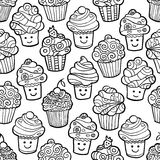 Άνευ ραφής σχέδιο με το χαριτωμένο χαμόγελο cupcakes στο άσπρο υπόβαθρο Διανυσματική απεικόνιση