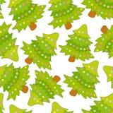 Άνευ ραφής σχέδιο με το χαριτωμένο χριστουγεννιάτικο δέντρο απεικόνιση αποθεμάτων