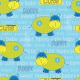 Άνευ ραφής σχέδιο με το χαριτωμένο hippo Στοκ φωτογραφία με δικαίωμα ελεύθερης χρήσης