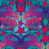 Άνευ ραφής σχέδιο με το χταπόδι, τον αστερία και την κοραλλιογενή ύφαλο στο ύφος Nouveau τέχνης Περίπλοκη σύνθεση, φωτεινά χρώματ Στοκ Εικόνες