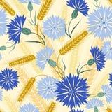 Άνευ ραφής σχέδιο με το cornflower και το σίτο Στοκ φωτογραφία με δικαίωμα ελεύθερης χρήσης
