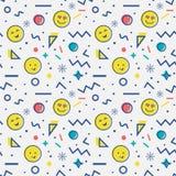 Άνευ ραφής σχέδιο με το emoji στο ύφος της Μέμφιδας Στοκ φωτογραφία με δικαίωμα ελεύθερης χρήσης