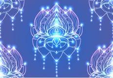 Άνευ ραφής σχέδιο με το Lotus περιλήψεων με το σχέδιο boho διανυσματική απεικόνιση