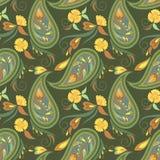 Άνευ ραφής σχέδιο με το Paisley και τα λουλούδια Στοκ Εικόνες