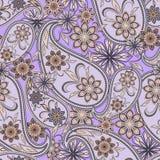 Άνευ ραφής σχέδιο με το Paisley και τα λουλούδια Στοκ Φωτογραφίες