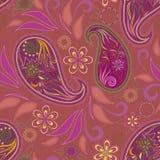 Άνευ ραφής σχέδιο με το Paisley και τα λουλούδια Στοκ εικόνα με δικαίωμα ελεύθερης χρήσης
