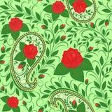 Άνευ ραφής σχέδιο με το Paisley και τα τριαντάφυλλα Στοκ Φωτογραφία