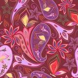 Άνευ ραφής σχέδιο με το Paisley και τις πεταλούδες Στοκ Εικόνα