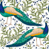 Άνευ ραφής σχέδιο με το peacock, τα λουλούδια και τα φύλλα διανυσματική απεικόνιση