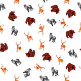 Άνευ ραφής σχέδιο με το Polygonal άγριο ζώο Στοκ Εικόνα