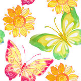 Άνευ ραφής σχέδιο με το watercolor πεταλούδων και λουλουδιών διάνυσμα Στοκ Εικόνες