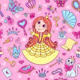 Άνευ ραφής σχέδιο με χαριτωμένο λίγη πριγκήπισσα Στοκ Εικόνα