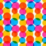 Άνευ ραφής σχέδιο με χρωματισμένα τα watercolor στοιχεία Στοκ Εικόνες