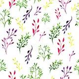 Άνευ ραφής σχέδιο με χρωματισμένα τα watercolor φύλλα και τους περίκομψους κλάδους Κεραμωμένο διάνυσμα υπόβαθρο Στοκ φωτογραφίες με δικαίωμα ελεύθερης χρήσης