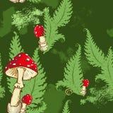Άνευ ραφής σχέδιο με amanita τα φύλλα μανιταριών και φτερών στο πράσινο υπόβαθρο Στοκ Εικόνες