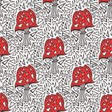 Άνευ ραφής σχέδιο με amanita zentangle τα μανιτάρια Διανυσματική σύσταση υποβάθρου τριγώνων Στοκ Εικόνα