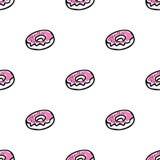 Άνευ ραφής σχέδιο με doughnuts doodle Στοκ Φωτογραφίες