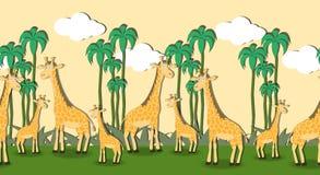 Άνευ ραφής σχέδιο με giraffes κινούμενων σχεδίων Στοκ εικόνα με δικαίωμα ελεύθερης χρήσης